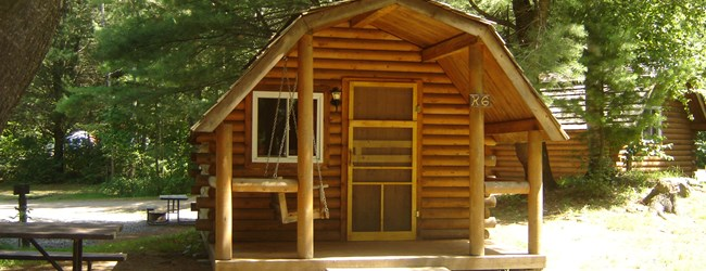 Play 'n Stay in a Cedar or Pine Log Camping Cabin including small fridge