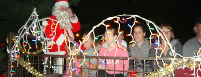 Santa's famous illuminated Wagon ride during Christmas in July aboard the Parry Sound Express