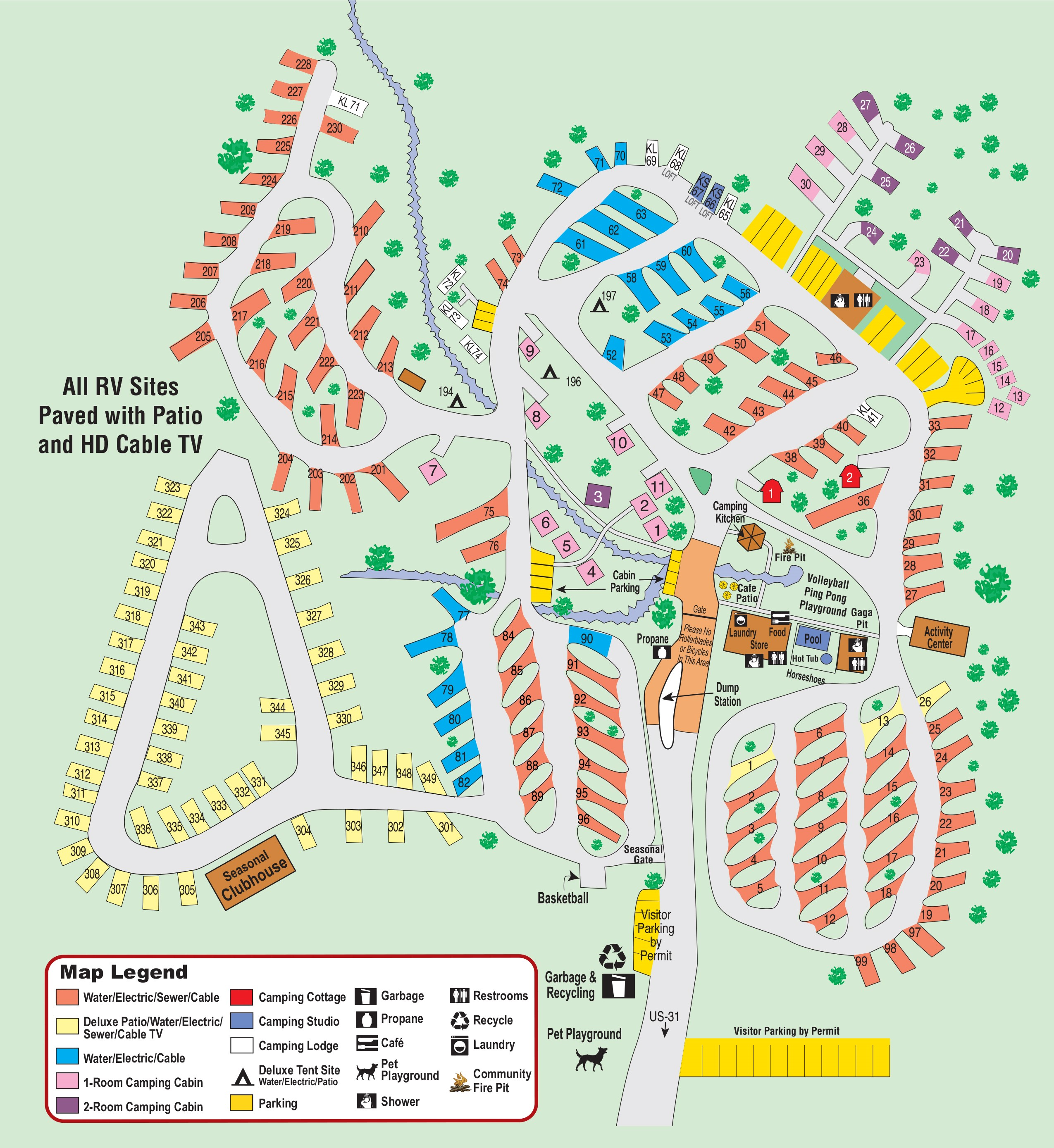 Outdoor Site Maps Examples: Petoskey, Michigan Campground