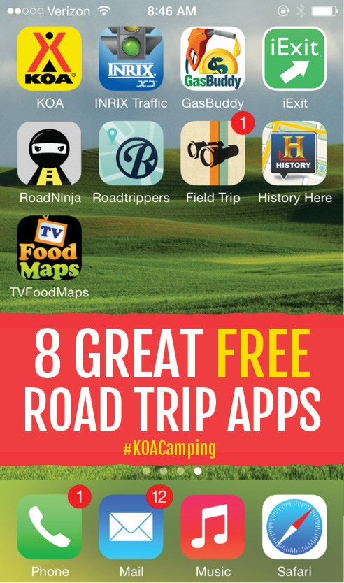 8 Great Free Road Trip Apps #KOACamping
