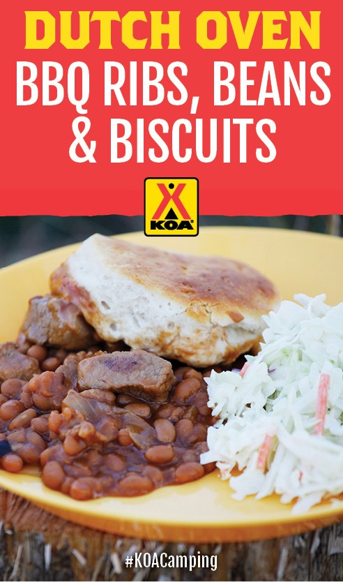 Dutch Oven Barbecue Ribs, Beans and Biscuits Recipe #KOACamping