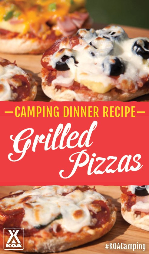 Grilled Pizzas - the perfect dinner recipe for your next camping trip! #KOACamping