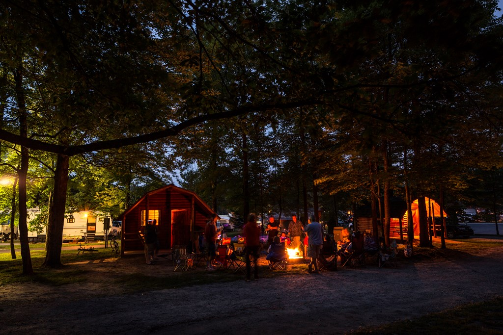 Group Camping at Night