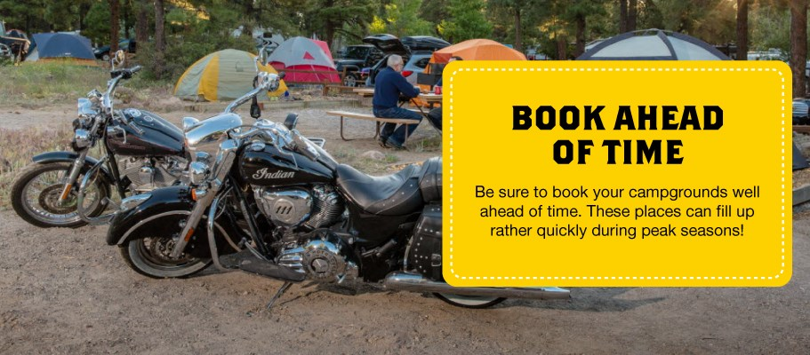 Book Ahead when Motorcycle Camping