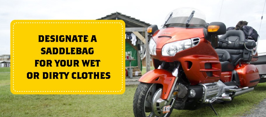 Designate a Saddlebag for Wet Items when Motorcycle Camping