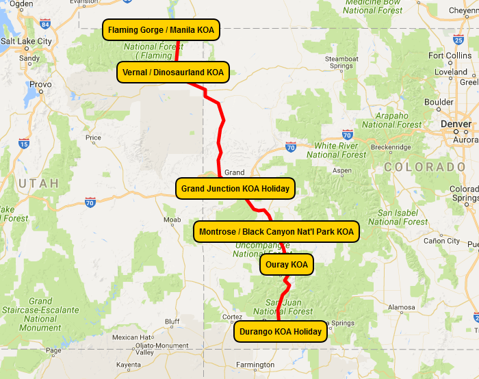 KOA Dream Vacation Million Dollar Highway Map