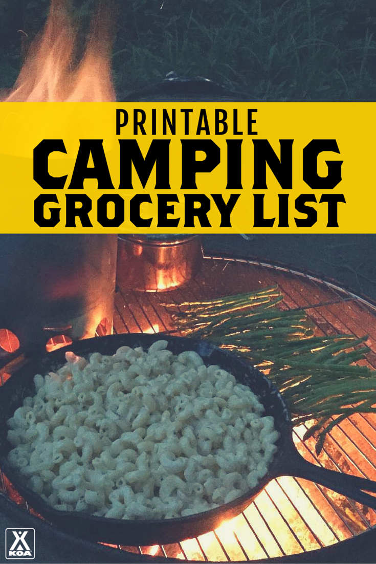 picture about Rv Checklist Printable referred to as Printable Tenting Grocery Checklist KOA Tenting Website