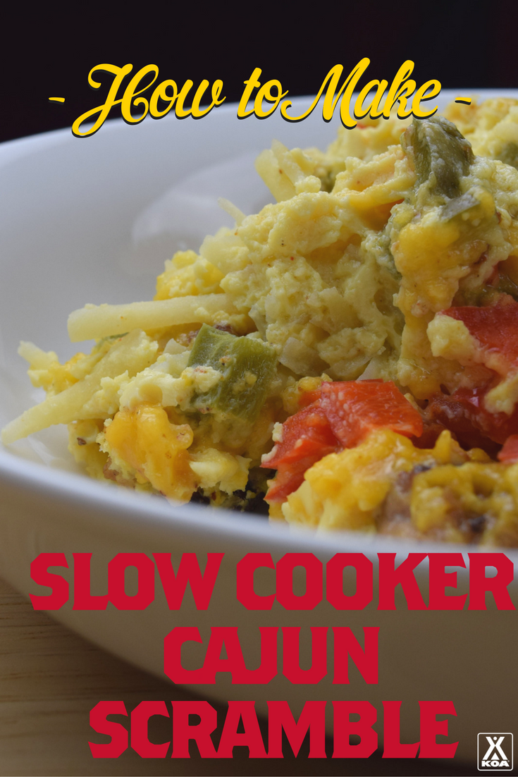 Make a delicious slow cooker Cajun scramble! Easy and delicious.