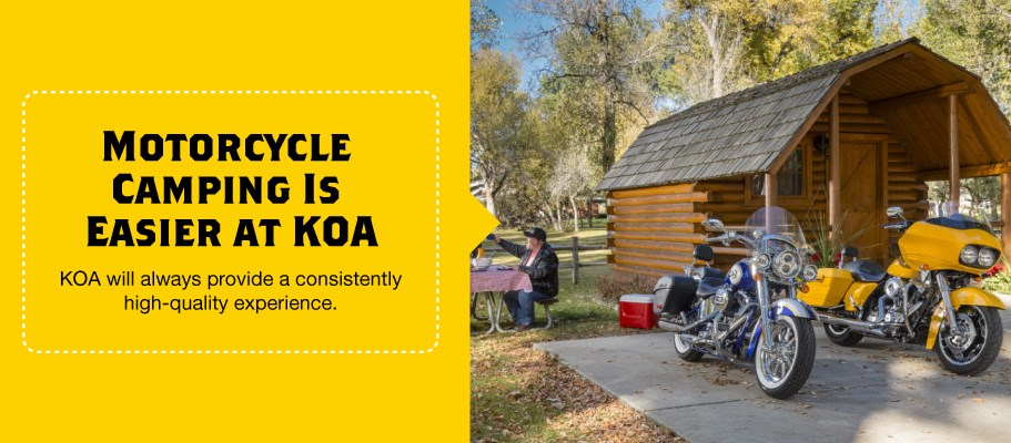 Motorcycle Camping is Easy at KOA Campgrounds