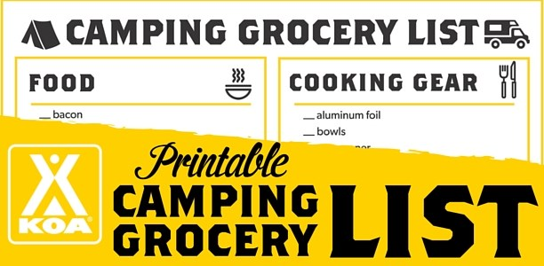 graphic about Rv Checklist Printable named Printable Tenting Grocery Listing KOA Tenting Website