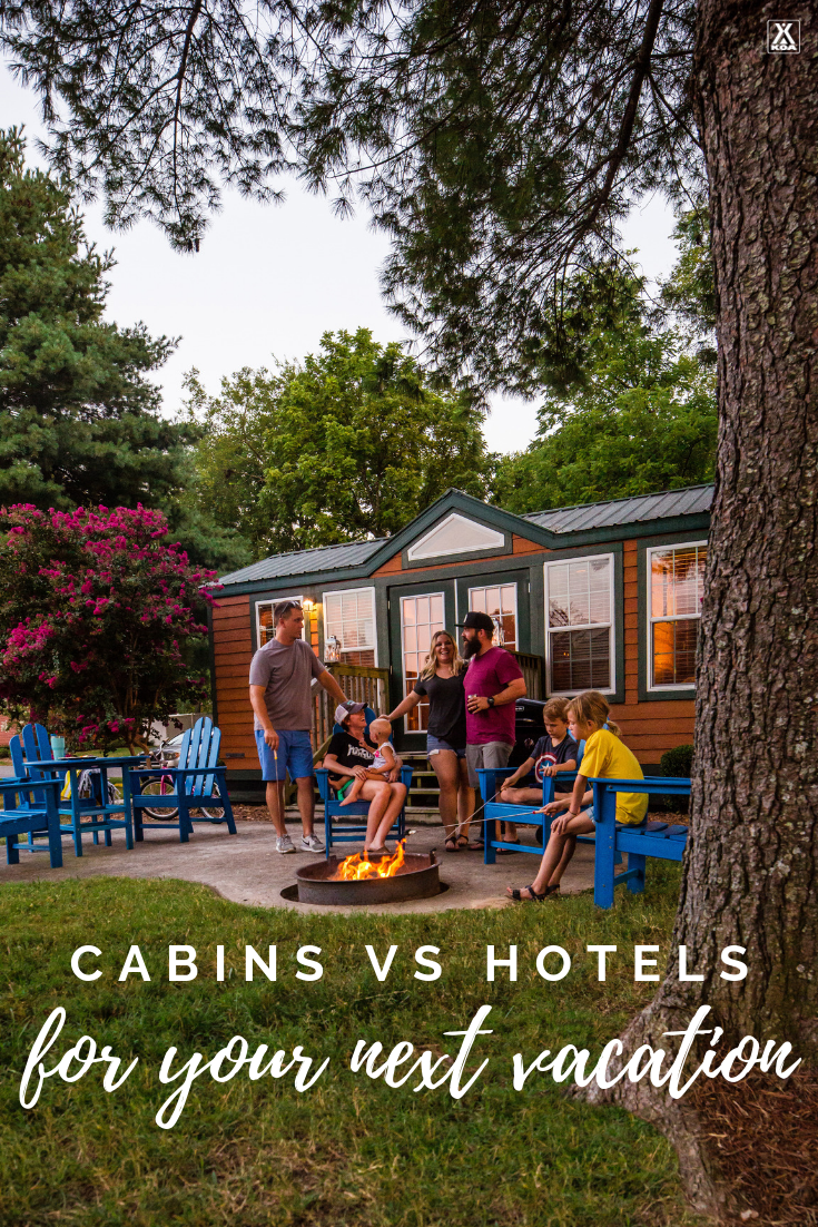 Planning your next family trip or fun-filled getaway with friends? Check out the pros and cons of choosing hotels versus camping cabins for your lodging.