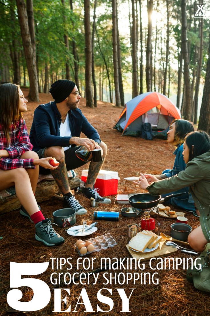 Follow these tips to make grocery shopping for your next camping trip easier.