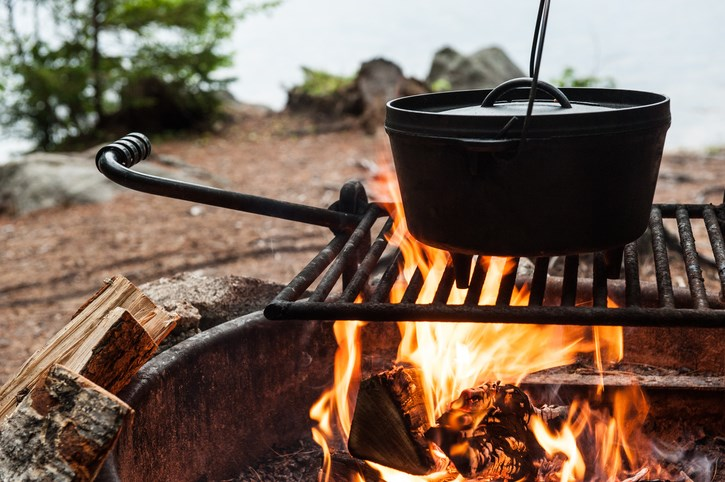 Dutch oven cooking over a campfire