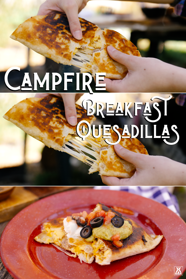 Toasty, tasty and totally portable our yummy breakfast quesadillas are sure to be a hit on your next camping trip.