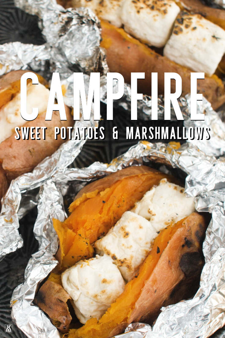 Add a campfire twists to a classic holiday favorite with this easy recipe for baked sweet potatoes with roasted marshmallows.