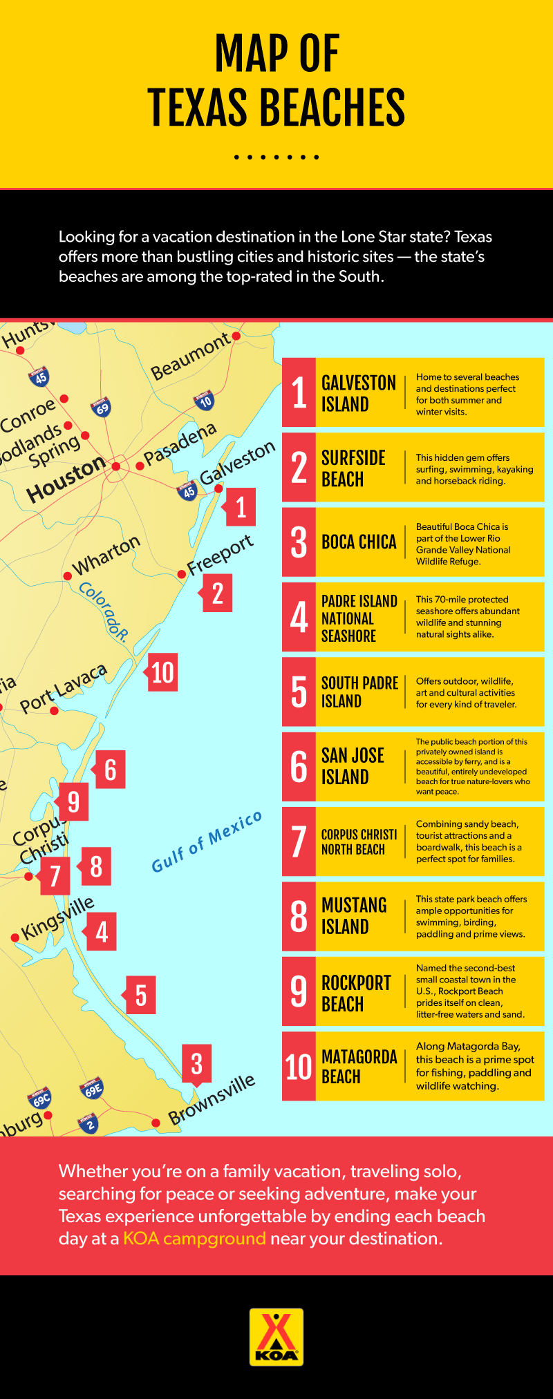 Map Of Texas Beach 10 Best Beaches in Texas for Families, When to Visit & More | KOA