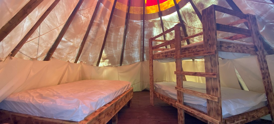 Bunk ed and full size bed in Tipi, how cool!