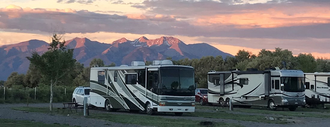 Enjoy the sunset on the mountains from the back row sites.