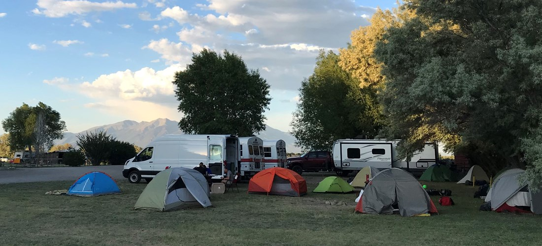Front tent sites have a view of Mt Blanca.