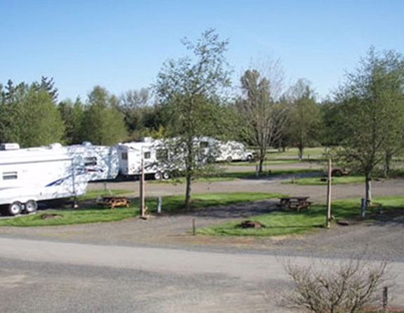 The RV sites provide plenty of space and green grass