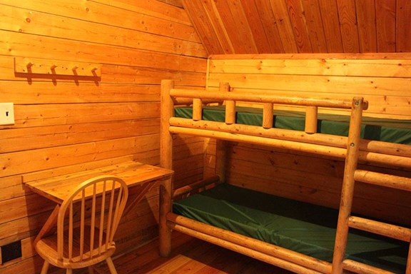 Back room with two sets of bunks