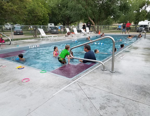 This new pool was installed in the spring of 2017. It stays warm all season with its dark color and night time cover. Open 10 AM until 1/2 hour before store closes.
