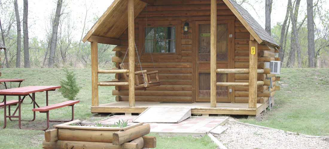 Camping Cabin Sleeps 4 with patio 87 planter