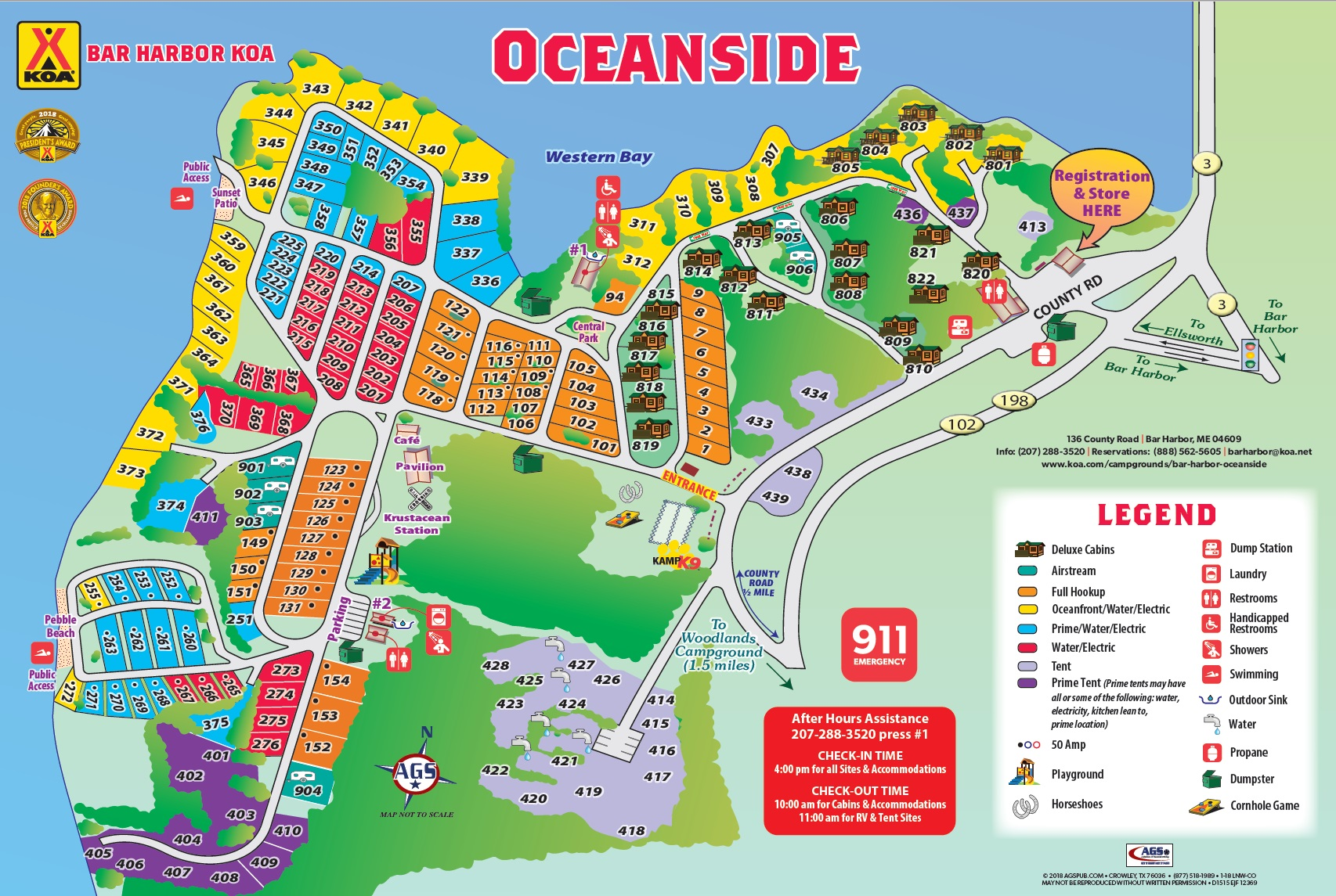 Ocean Park Maine Map.Bar Harbor Maine Campground Bar Harbor Oceanside Koa