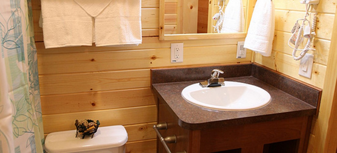 Don't want to rough it?  No problem our cabins have full bathrooms.