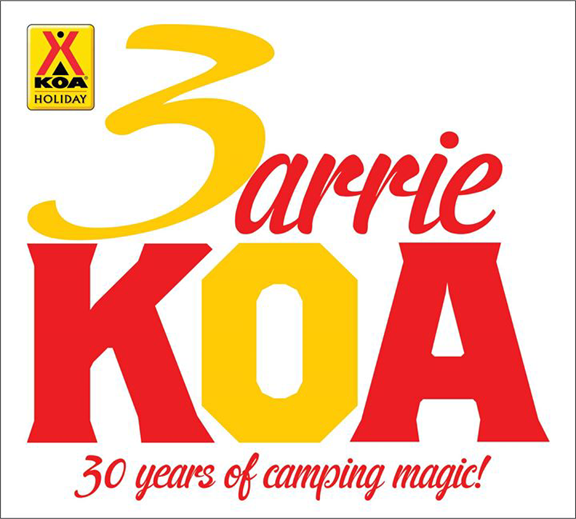 Celebrating 30 Years of Camping Magic at Barrie KOA Campground.