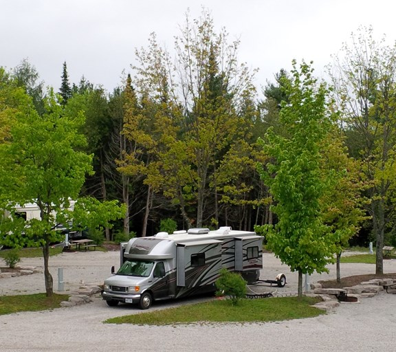 Premium Pull Through Site in Lower Section at Barrie KOA Campground
