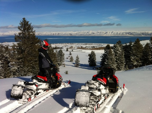 Snowmobiling view of Bear Lake
