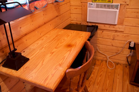 Work Desk in Camping Cabin