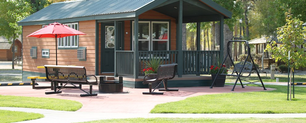 Our Deluxe Cabins are as comfortable outside as they are inside.