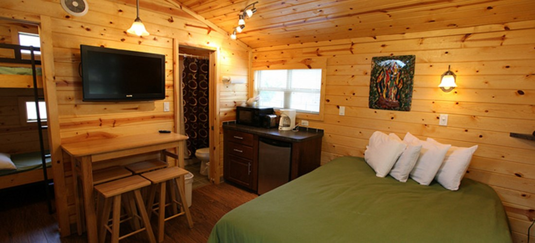 Inside our studio cabins.  Great for a weekend get-a-way!