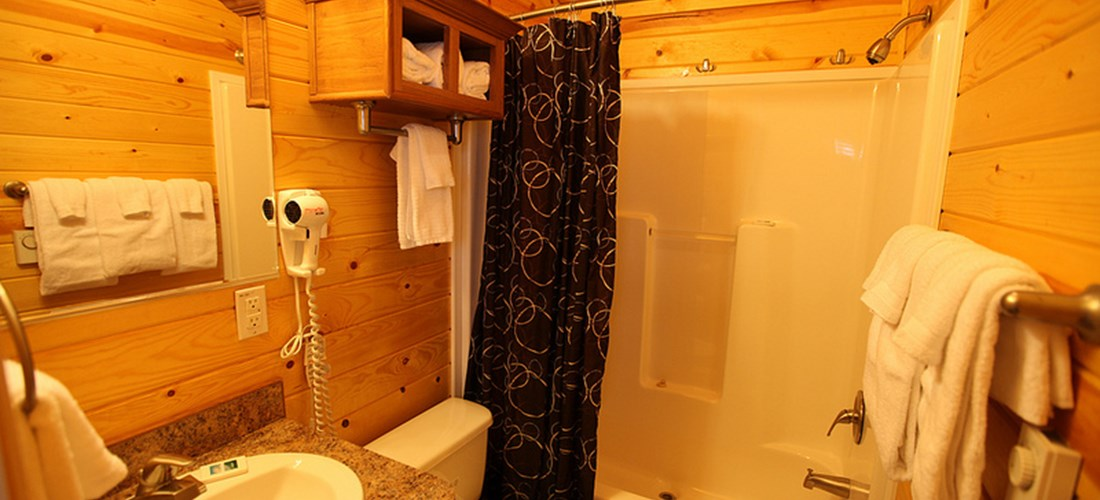 Camp in style with a full bathroom.