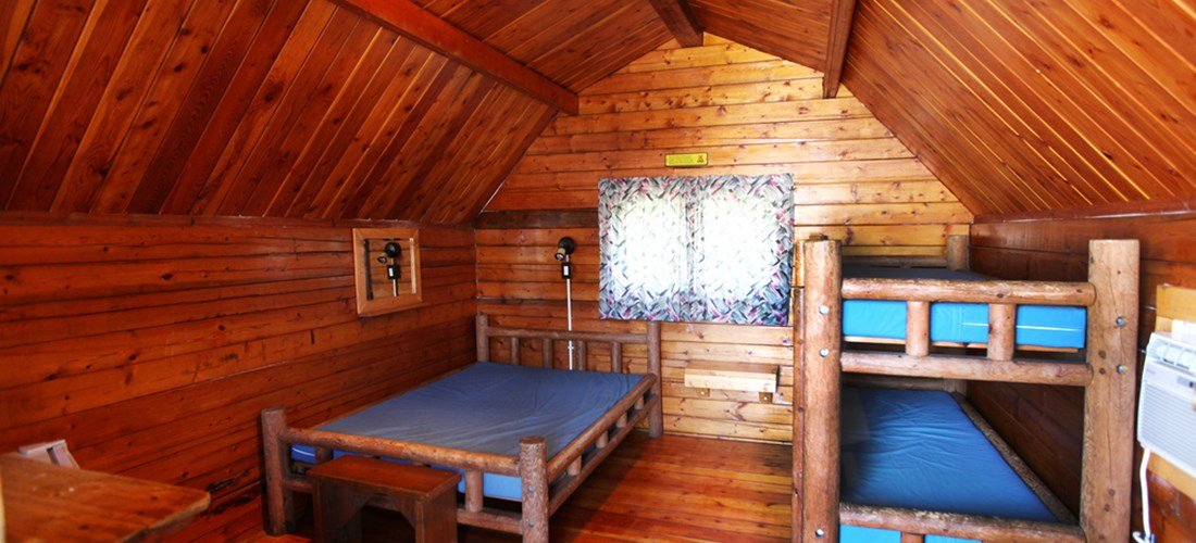 Our upgraded 1 room Camping Cabins even have a television.