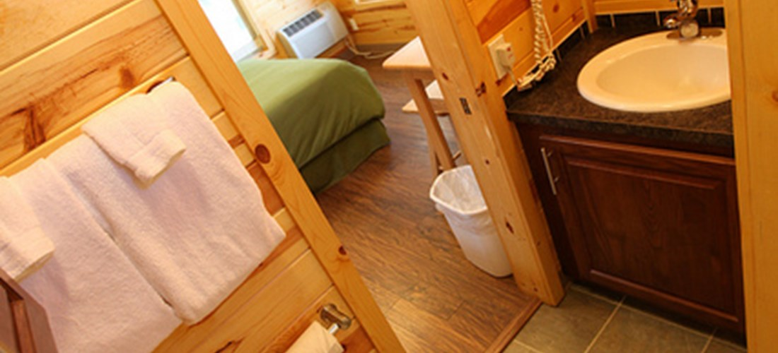 Camp in comfort with a full bathroom.