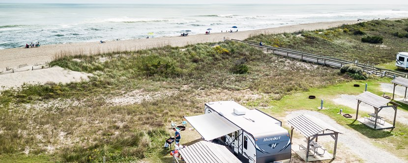 RV sites right next to the beach.