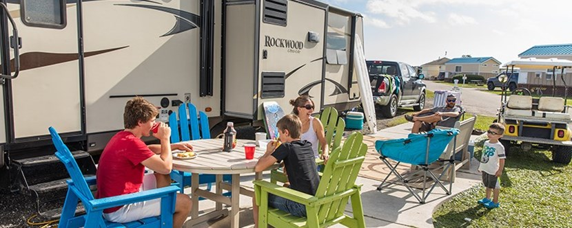 RV site with KOA Patio has room for entertaining!