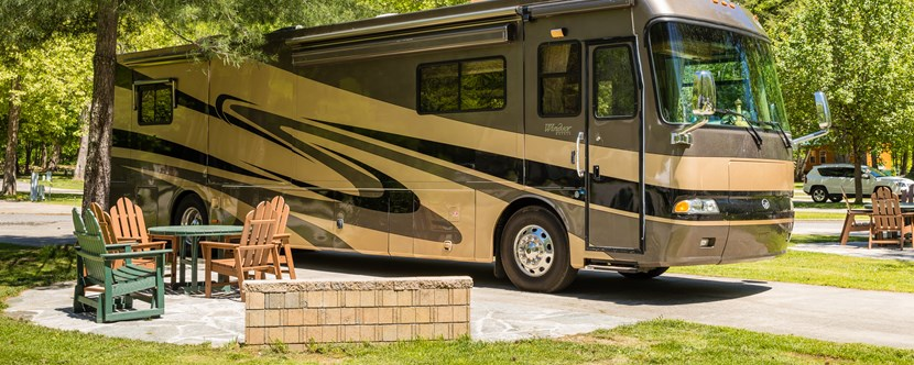Large RV sites great for entertaining