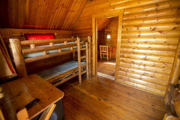 inside 2 room camping cabin