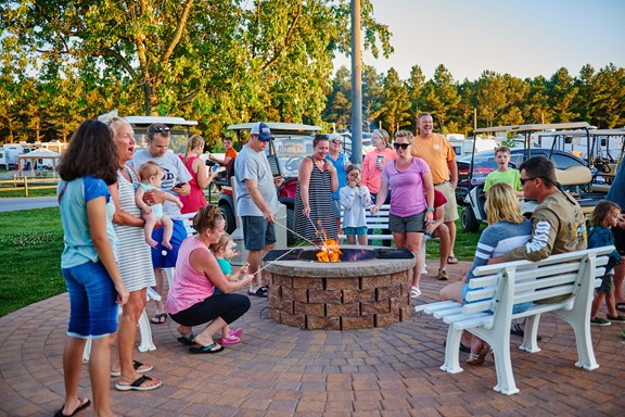 Our community fire pit is the heart of the campground.