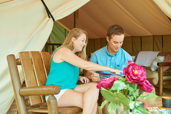 Go glamping on Virginia's Eastern Shore in one of our safari tents.