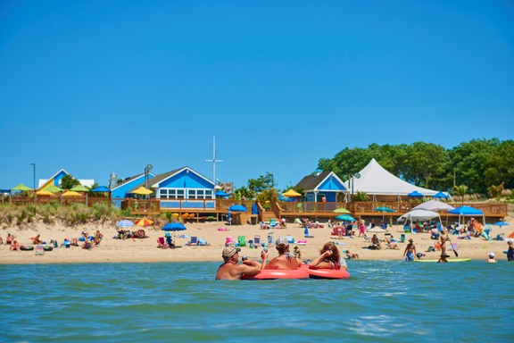 Let your troubles float away at the private beach at Chesapeake Bay KOA!