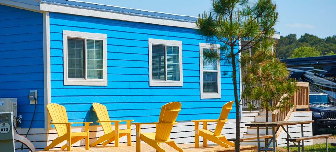 Cabins at Chesapeake Bay KOA come with private outdoor living spaces.