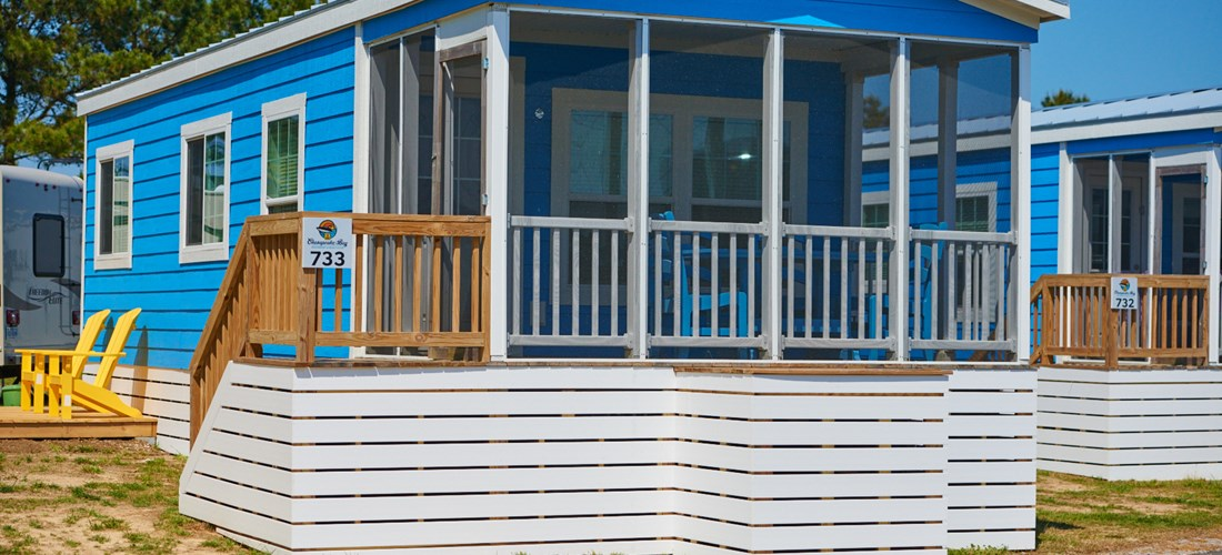 Glampers will love the cabins at Chesapeake Bay KOA.