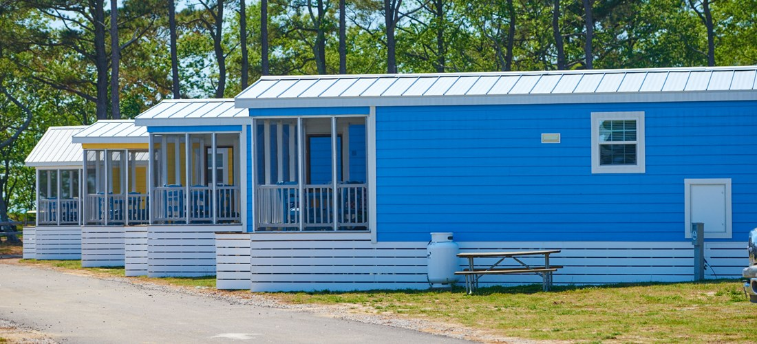 Cabins at Chesapeake Bay KOA are conveniently located near the private beach, pool and onsite restaurant.
