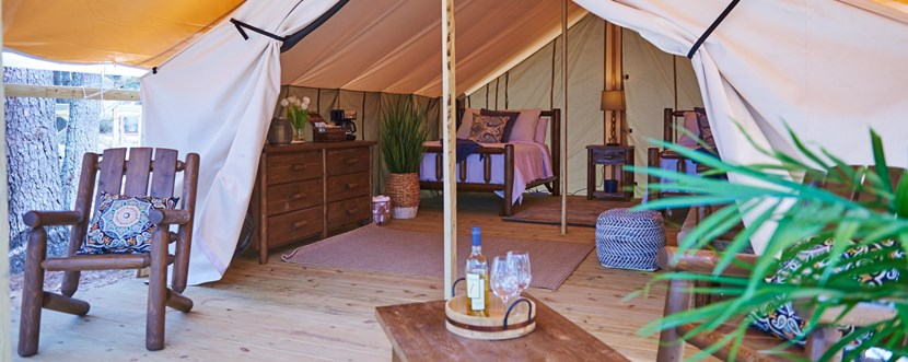 There's plenty of space to spread out in a safari tent.