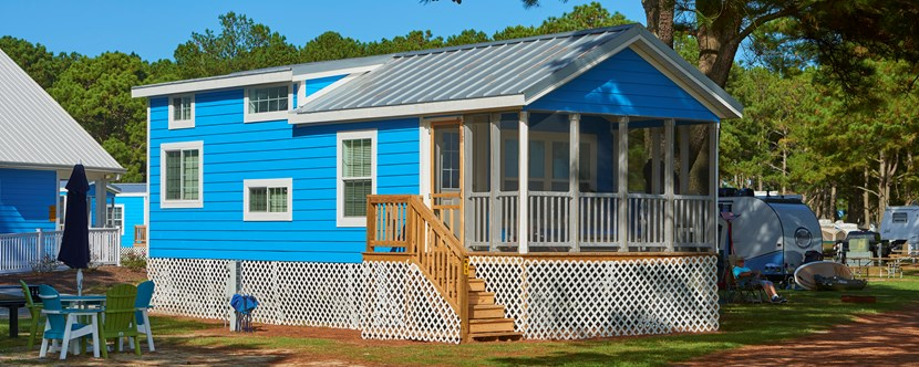 The loft cabin at Chincoteague Island KOA comes with a sleeping loft for extra space.